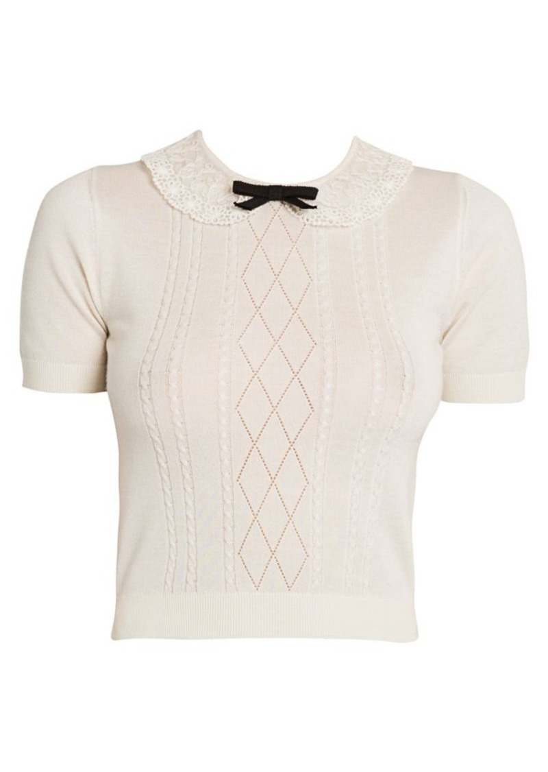 Miu Miu Short-Sleeve Wool-Blend Collared Knit Tee