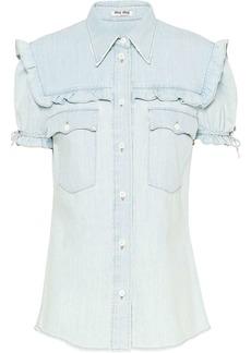 Miu Miu short sleeved ruffle shirt