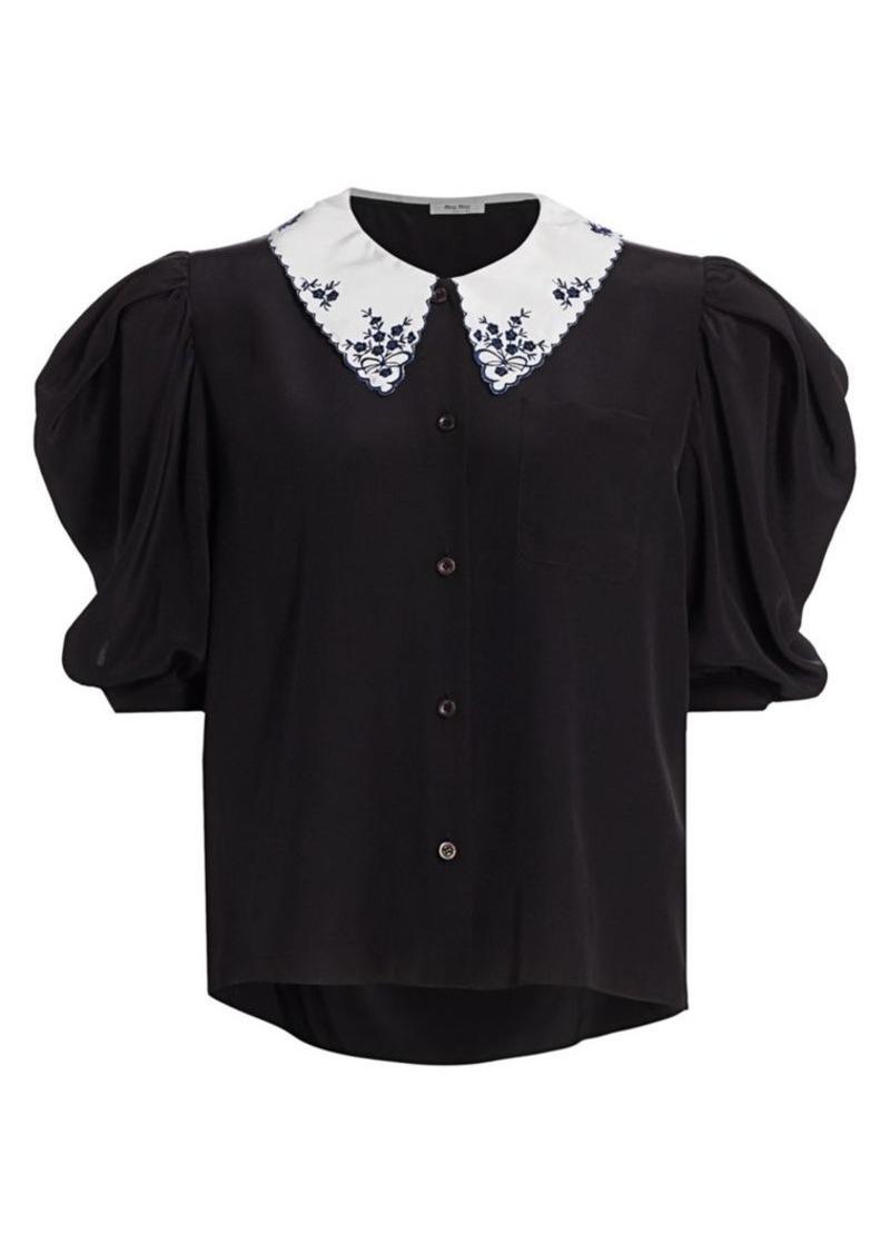 Miu Miu Silk Crepe De Chine Collared Puff-Sleeve Blouse