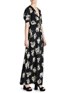 Miu Miu Silk Jacquard V-Neck Print Maxi Dress