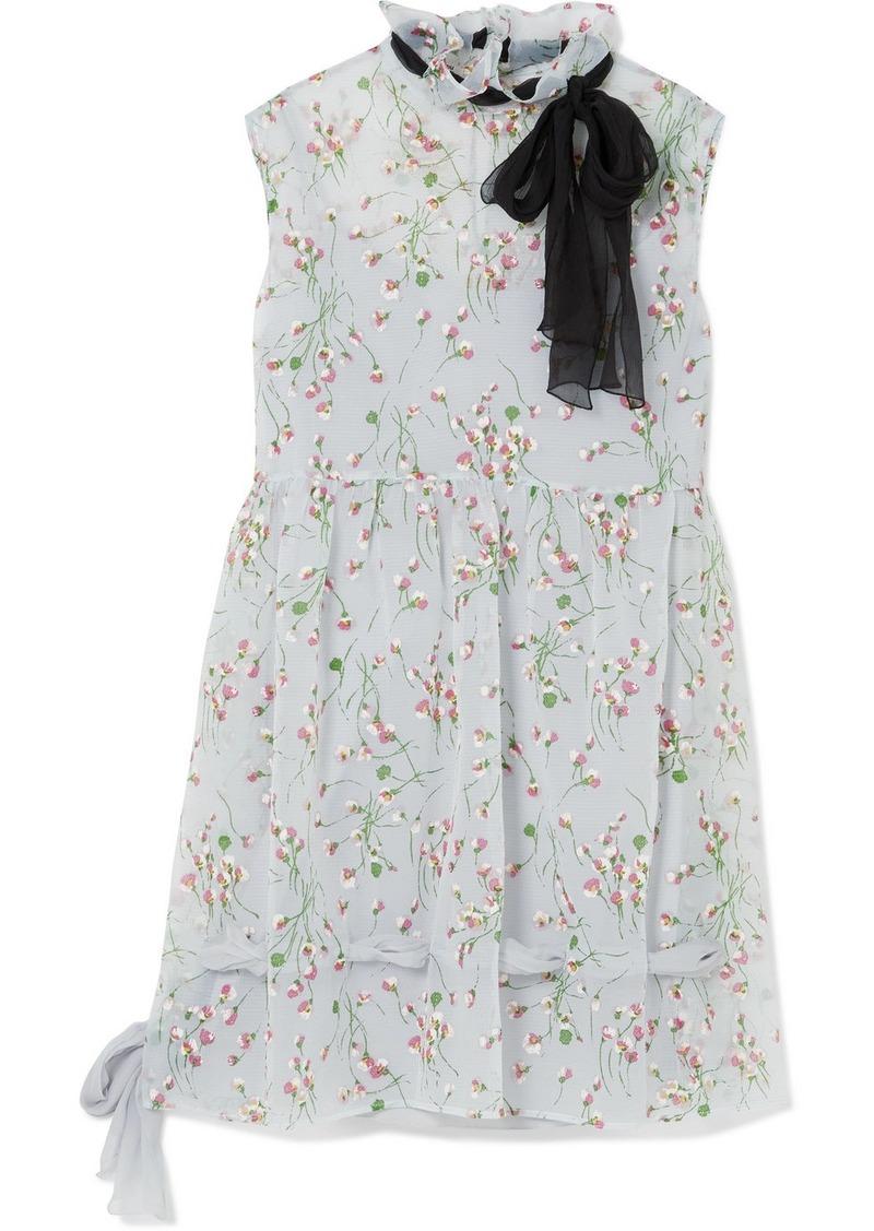 Miu Miu Silk-trimmed Floral-print Georgette Mini Dress