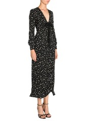 Miu Miu Silk V-Neck Star Printed Midi Dress