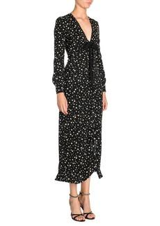 Miu Miu Silk V-Neck Star Printed Midi Dress