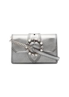 Miu Miu silver crystal buckle shoulder bag