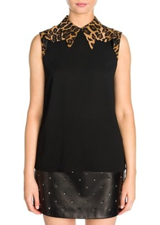 Miu Miu Sleeveless Leopard Collar Blouse