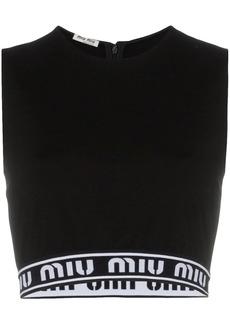 Miu Miu sleeveless logo band crop top