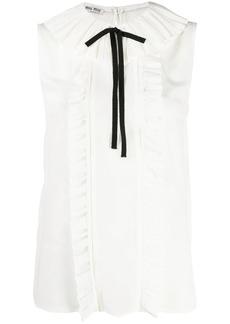 Miu Miu sleeveless ruffled silk blouse