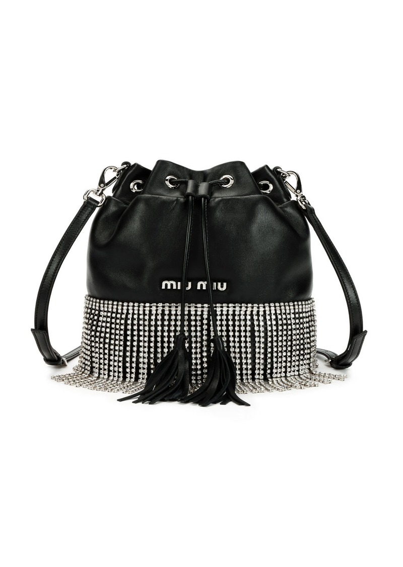 Miu Miu Small Crystal Fringe Napa Drawstring Bucket Bag