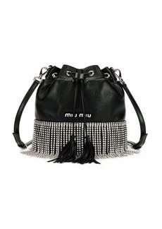 Miu Miu Small Crystal Fringe Napa Drawstring Bucket Bag