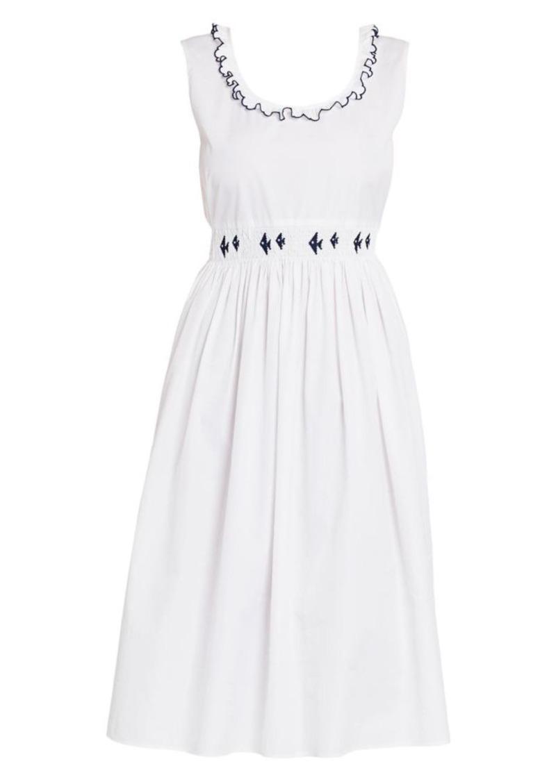 Miu Miu Smocked Cotton Poplin Dress
