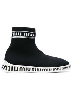 Miu Miu sock style logo boots