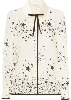 Miu Miu star print bow-embellished blouse