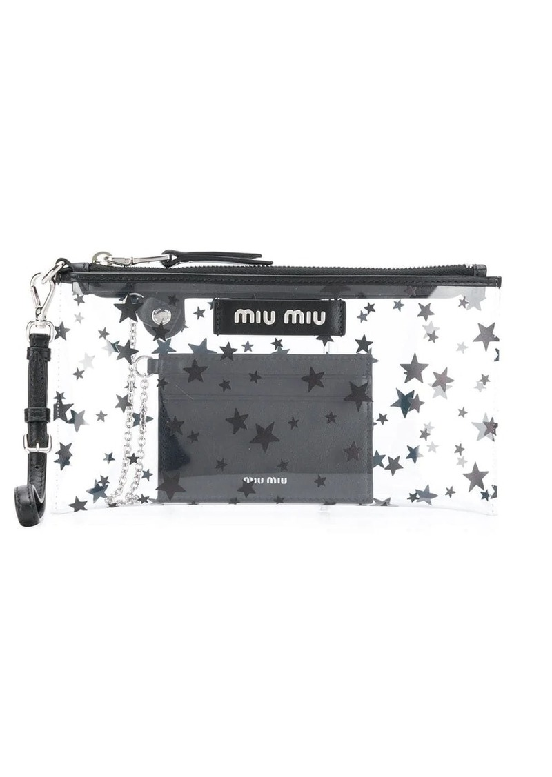 Miu Miu star print clutch bag