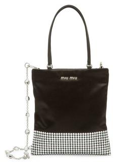 Miu Miu Starlight Embellished Satin Tote