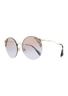Miu Miu Stone-Trim Semi-Rimless Gradient Round Sunglasses
