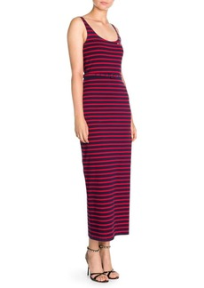 Miu Miu Striped Jersey Slit Maxi Dress