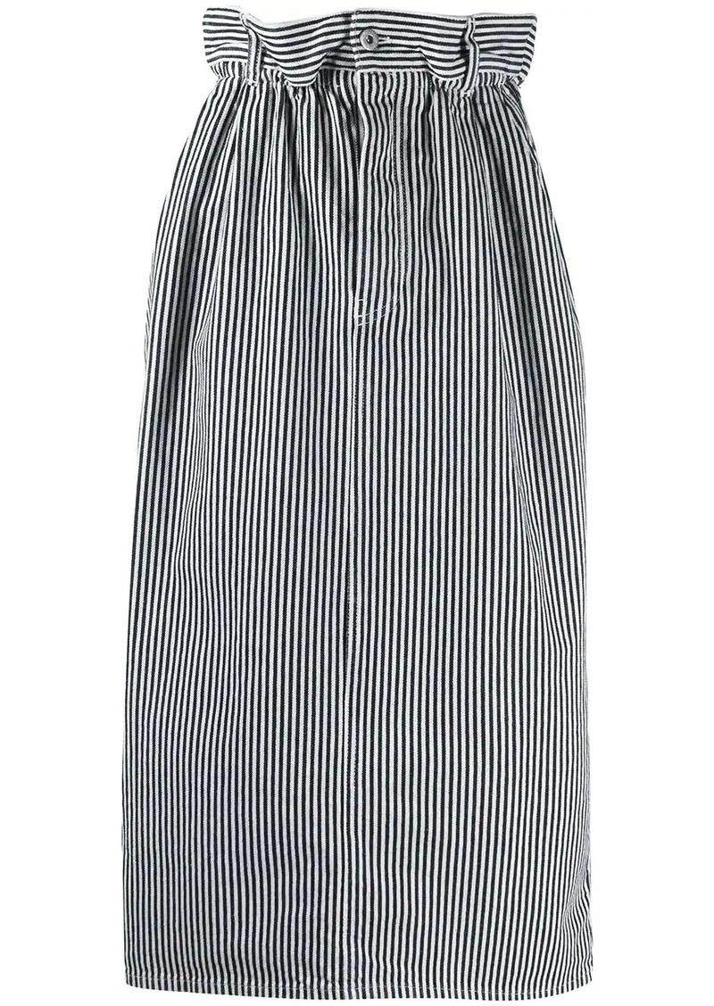 Miu Miu striped paperbag-waist skirt