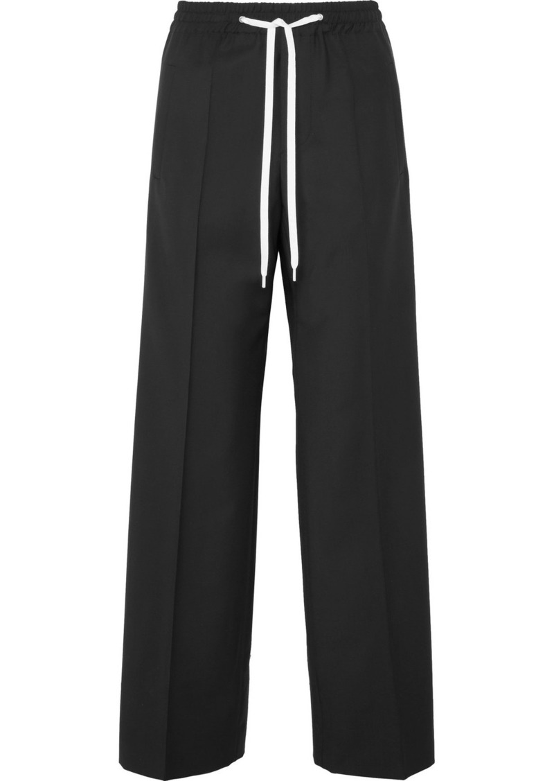 Miu Miu Striped Wool And Mohair-blend Track Pants