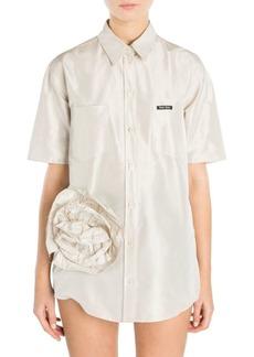 Miu Miu Taffeta Button Front Rose Tunic