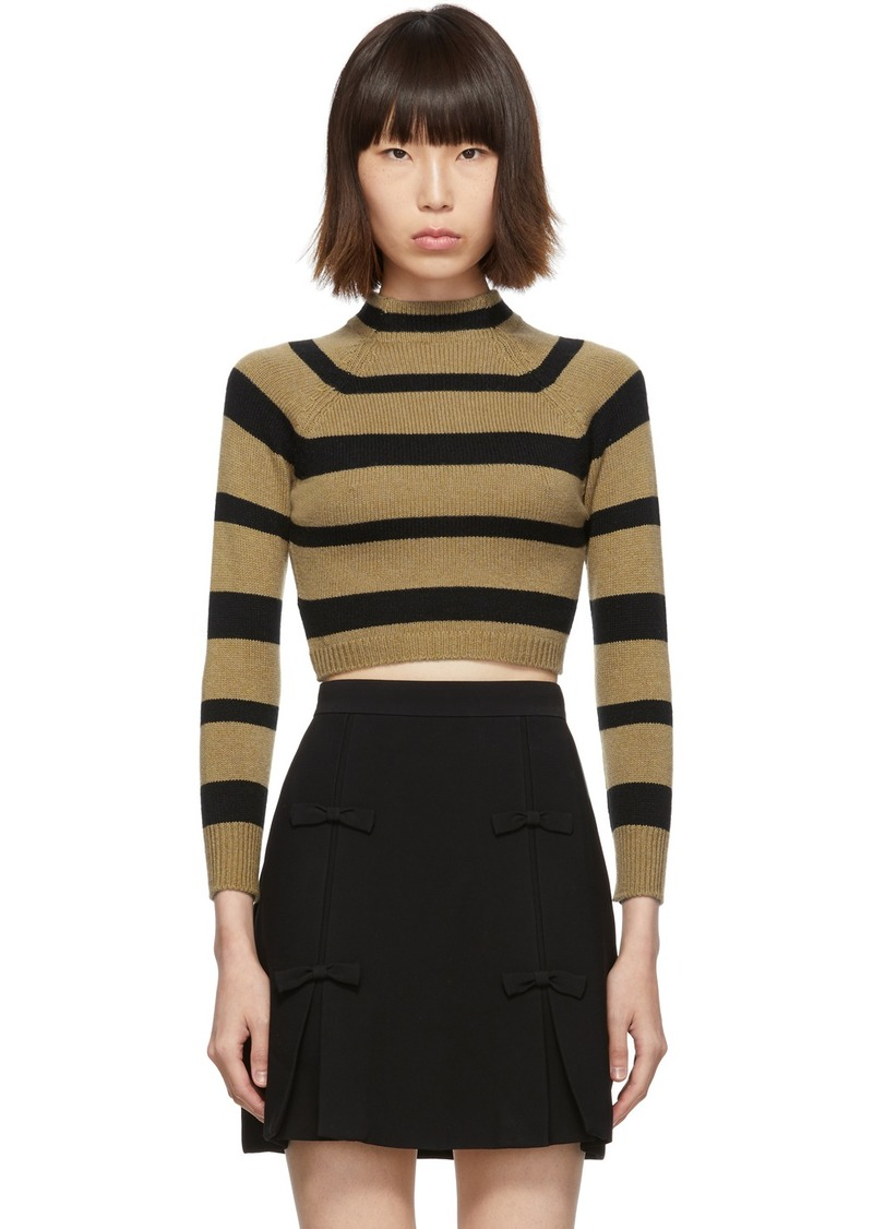 Miu Miu Tan & Black Stripe Cashmere Turtleneck