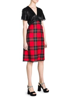 Miu Miu Tartan V-Neck A-Line Dress