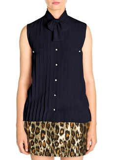 Miu Miu Tie Neck Pleated Silk Blouse
