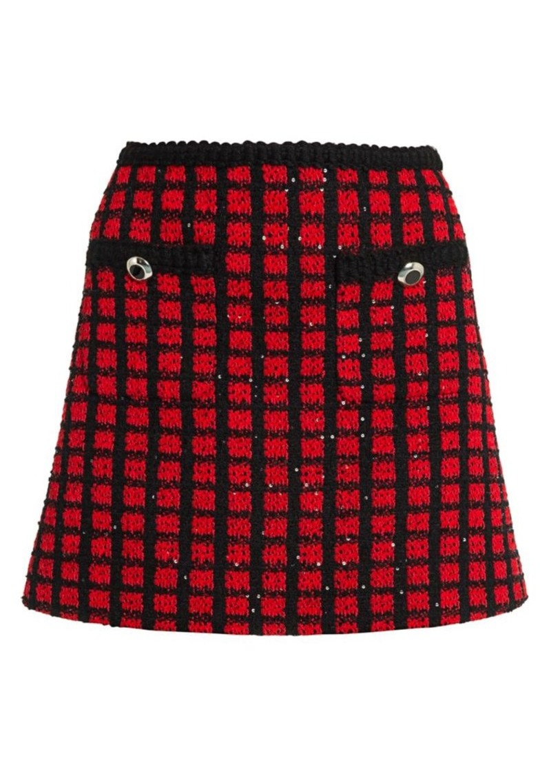 Miu Miu Tweed Check Sequin Mini Skirt