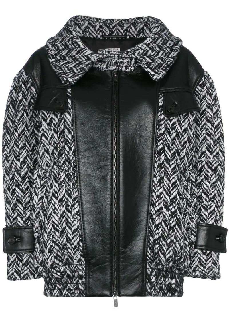 Miu Miu tweed napa leather coat