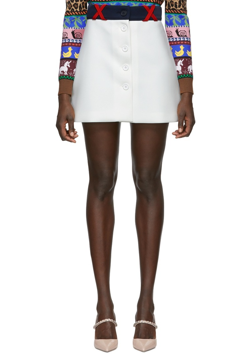 Miu Miu White Techno Button Miniskirt