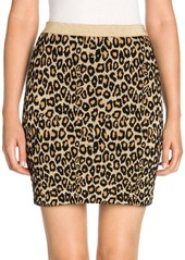 Miu Miu Wool-Blend Leopard Print Knit Mini Skirt