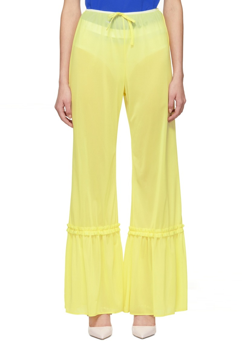 Miu Miu Yellow Ruffle Trousers
