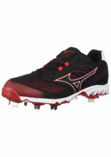 Mizuno Men's 9-Spike Dominant IC Low Metal Baseball Cleat Shoe Black/red 11.5 D US