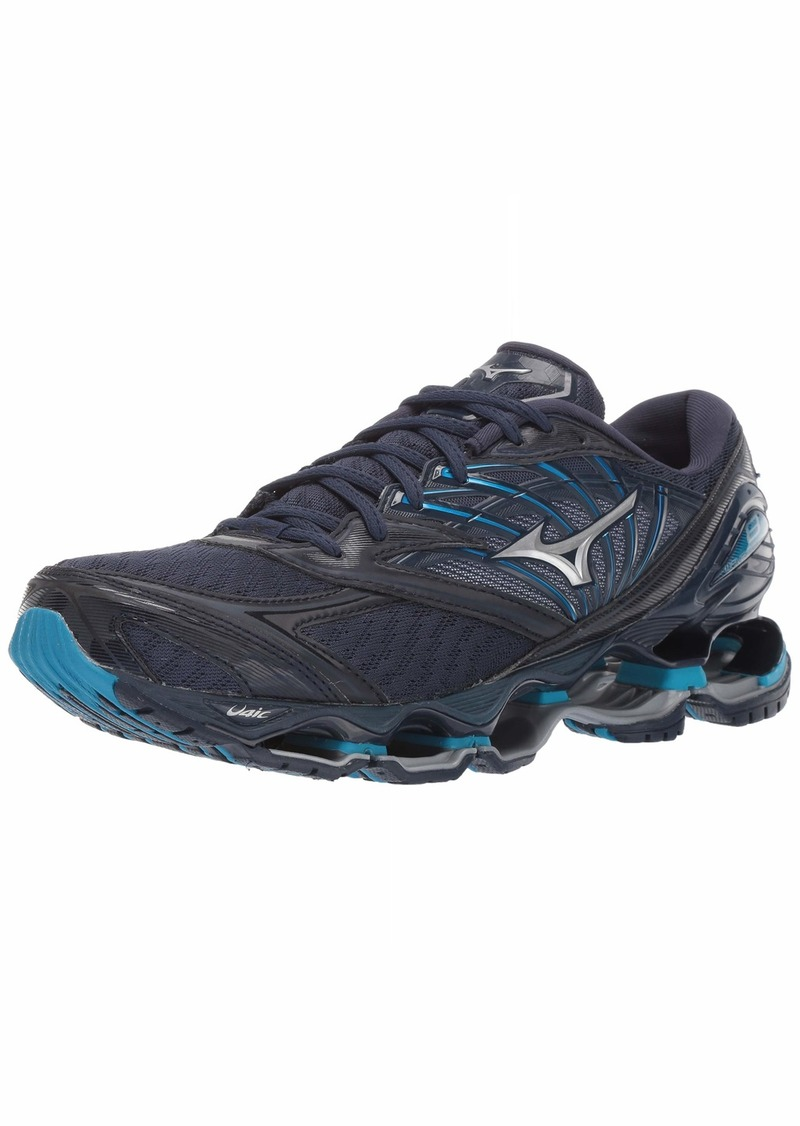 Mizuno Men's Wave Prophecy 8 Running Shoe Blue Wing Teal-Silver  D US