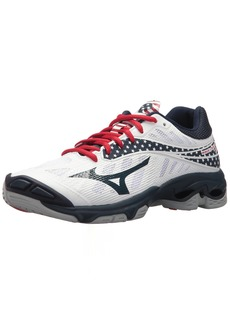 Mizuno Wave Lightning Z4 Volleyball Shoes White/Navy/red Women's 11.5 B US