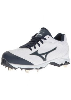 Mizuno Women's 9-Spike Advanced Sweep 3 Softball Shoe White-Navy 10 D US