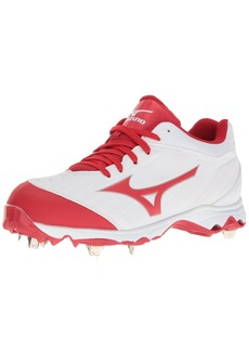 Mizuno Women's 9-Spike Advanced Sweep 3 Softball Shoe White-Red 9.5 D US