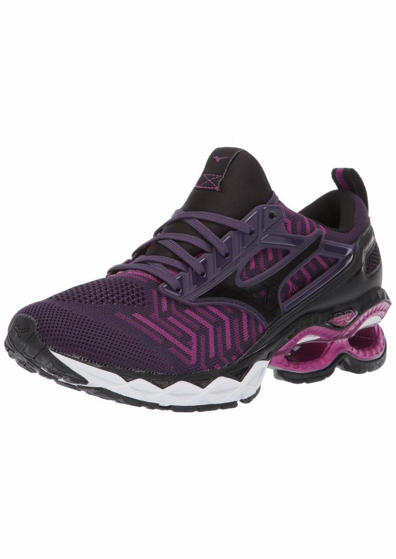 Mizuno Women's Wave Creation 20 Knit Running Shoe Plum-Black  B US