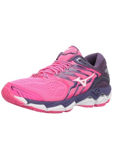 Mizuno Women's Wave Horizon 2 Running Shoe Pink glo/White 9 B US
