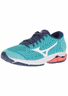 Mizuno Women's Wave Rider 22 Knit Running Shoe Peacock Blue-Fiery Coral 9.5 B US