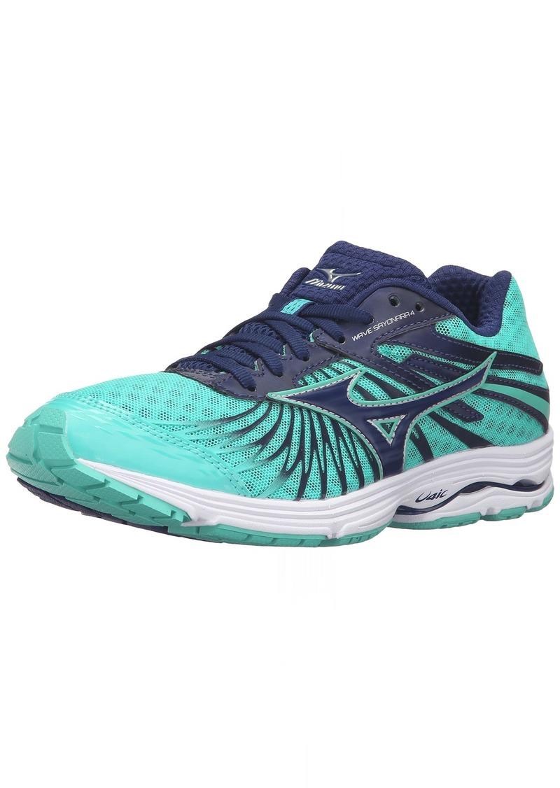 Mizuno Women's Wave Sayonara 4-W Running Shoe Blue Depths-Electric Green  B US