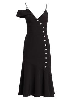 ML Monique Lhuillier Asymmetrical Button Fit-&-Flare Dress