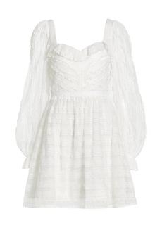 ML Monique Lhuillier Bishop-Sleeve Mini Dress