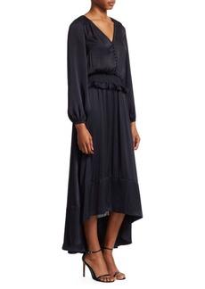 ML Monique Lhuillier Blouson Sleeve High-Low A-Line Satin Dress
