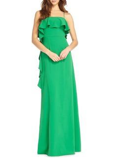 ML Monique Lhuillier Crepe Flounce-Trim Column Dress