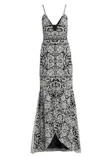 ML Monique Lhuillier Embroidered Sleeveless V-Neck Gown