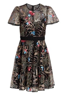 ML Monique Lhuillier Floral Embroidered Illusion Fit-&-Flare Dress