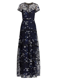 ML Monique Lhuillier Floral Embroidered Mesh Gown