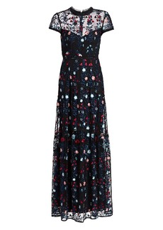 ML Monique Lhuillier Floral-Embroidered Tulle Column Gown