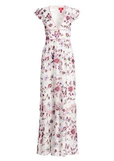 ML Monique Lhuillier Floral-Embroidery Mesh Gown