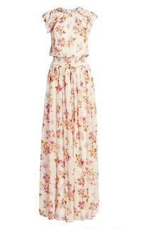 ML Monique Lhuillier Floral Flutter-Sleeve Maxi Dress